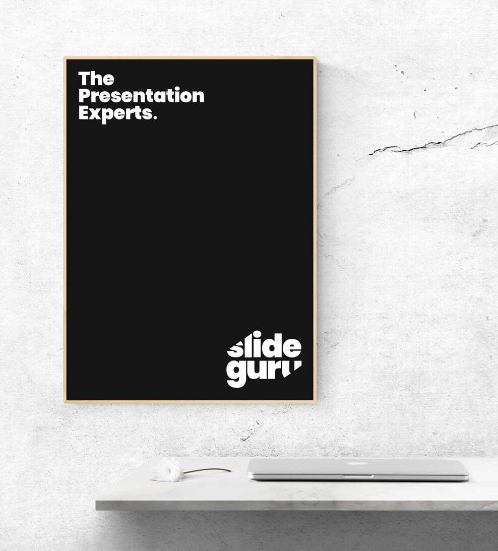 """Schwarzes Poster mit weißem slideguru Logo an einer Wand. Zusätzlich der Slogan """"The Presentation Experts"""""""