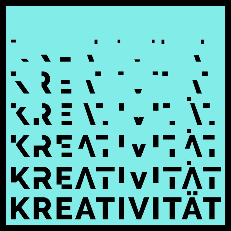 """Die quadratische Grafik zeigt das Wort """"Kreativität"""" das nach oben zusehend in seine Einzelteile verfällt. Die Schriftfarbe ist schwarz, der Hintergrund türkis."""