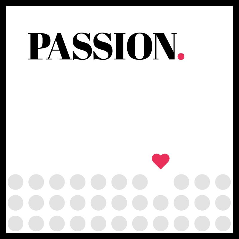Die quadratische Grafik zeigt das Wort Passion. Darunter befinden sich drei Reihen mit grauen Kreisen. An einer Stelle ist statt einem Kreis ein rotes Herz.